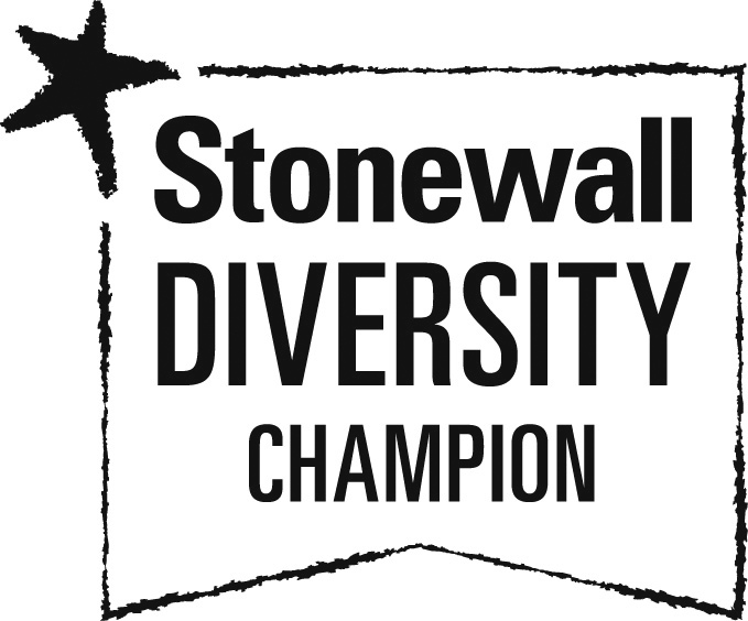 Stonewall Diversity Champion logo going to the Stonewall website