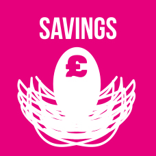 Savings button graphic