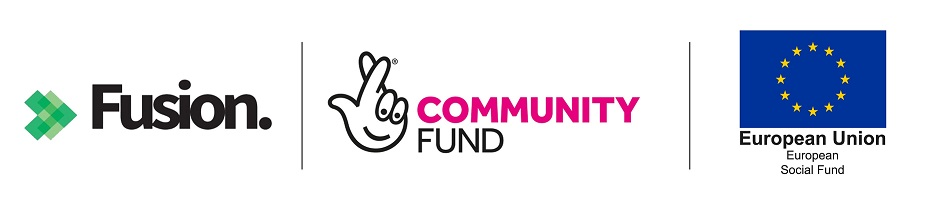 Fusion, Lottery Community Fund and European Social Fund logo