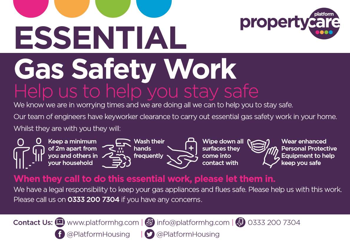 Essential gas safety work - please call us on 0333 200 7304 if you have any concerns